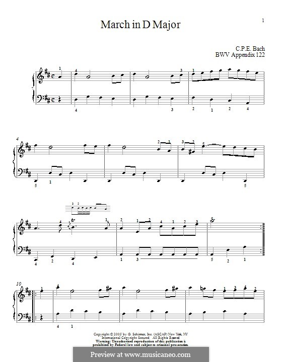 No.16 March in D Major, BWV Anh.122: For piano by Johann Sebastian Bach