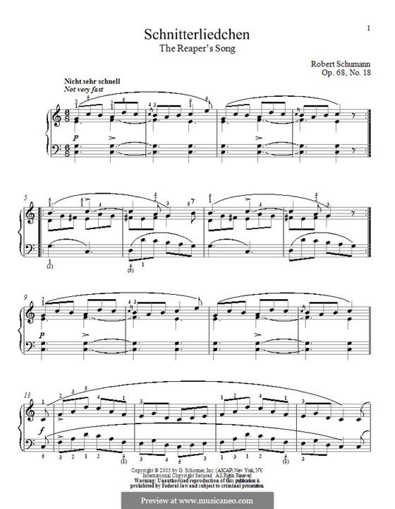 No.18 Schnitterliedchen (The Reaper's Song): For piano by Robert Schumann
