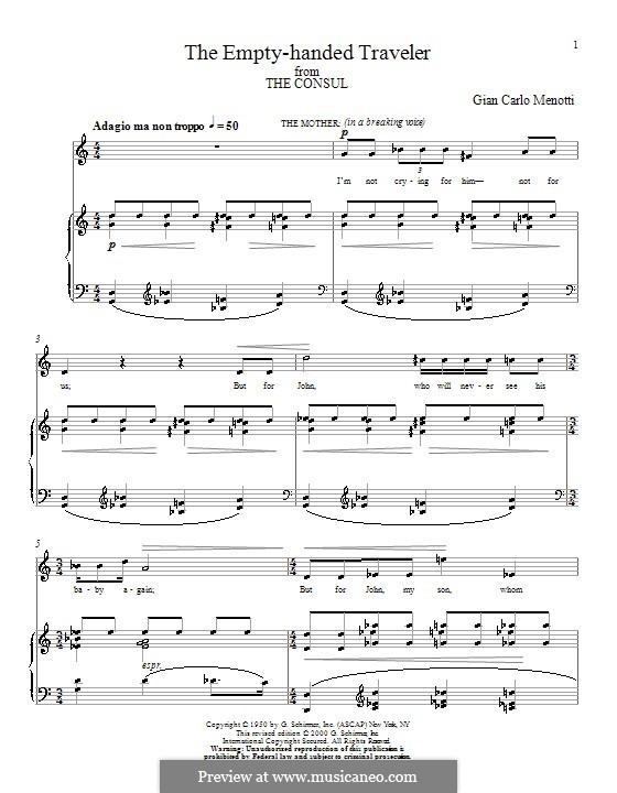 The Consul: The Empty-handed Traveler. Version for voice and piano by Gian Carlo Menotti
