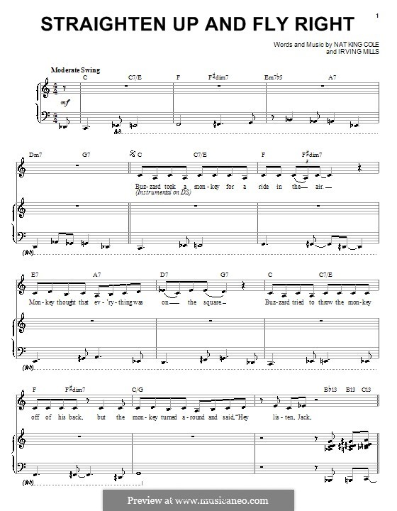 Straighten Up and Fly Right (Diana Krall): For voice and piano (or guitar) by Irving Mills