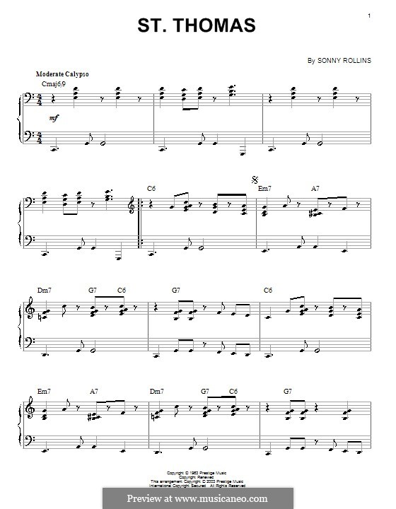 Vocal-instrumental version: For piano by Sonny Rollins
