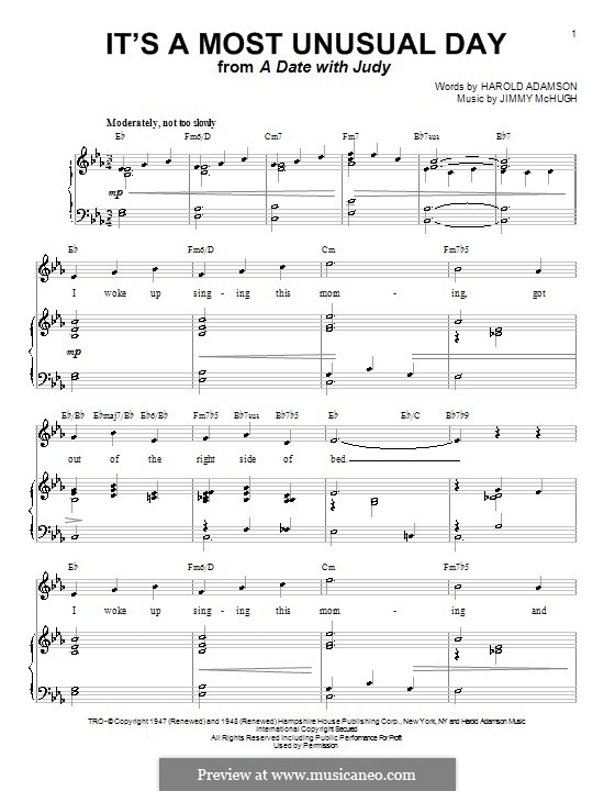 It's a Most Unusual Day: For voice and piano (or guitar) by Jimmy McHugh