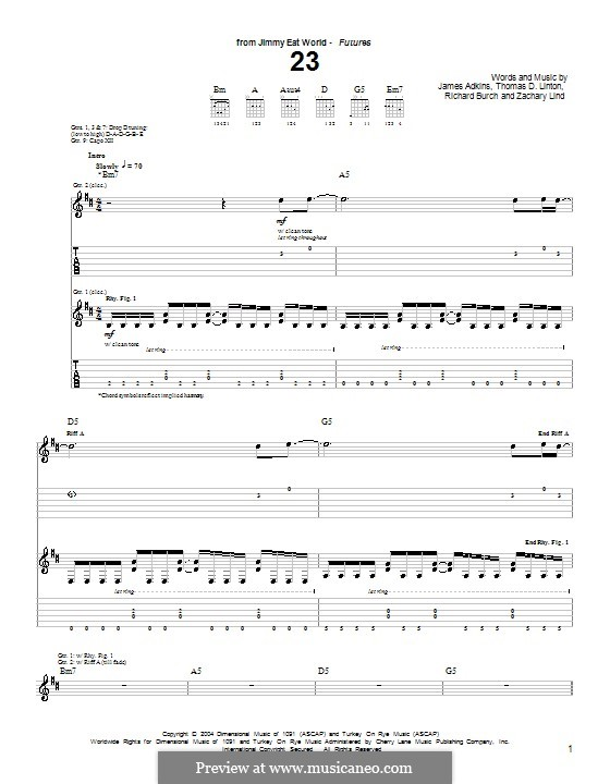 23 (Jimmy Eat World): For guitar with tab by James Adkins, Richard Burch, Thomas D. Linton, Zachary Lind
