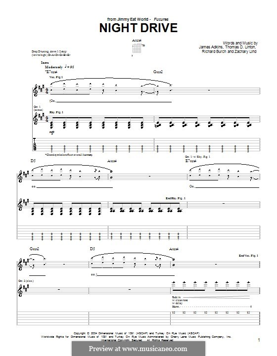 Night Drive (Jimmy Eat World): For guitar with tab by James Adkins, Richard Burch, Thomas D. Linton, Zachary Lind