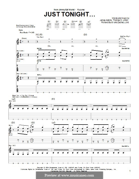 Just Tonight... (Jimmy Eat World): For guitar with tab by James Adkins, Richard Burch, Thomas D. Linton, Zachary Lind