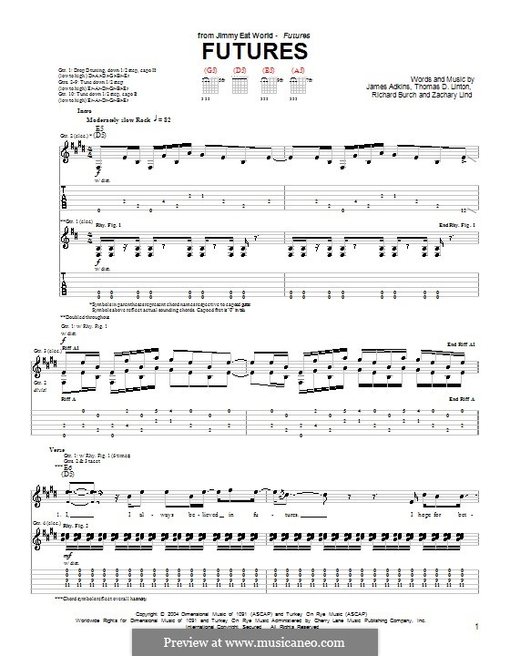 Futures (Jimmy Eat World): For guitar with tab by James Adkins, Richard Burch, Thomas D. Linton, Zachary Lind