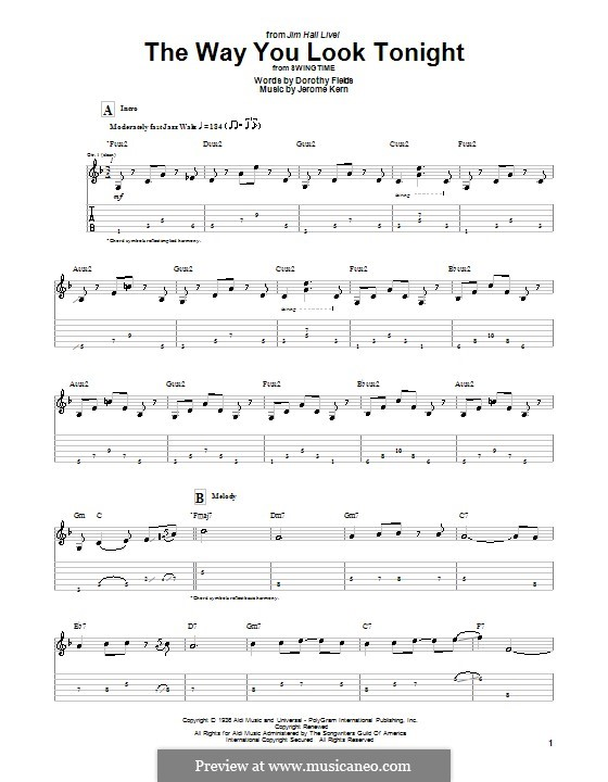 The Way You Look Tonight: For guitar (Jim Hall) by Jerome Kern