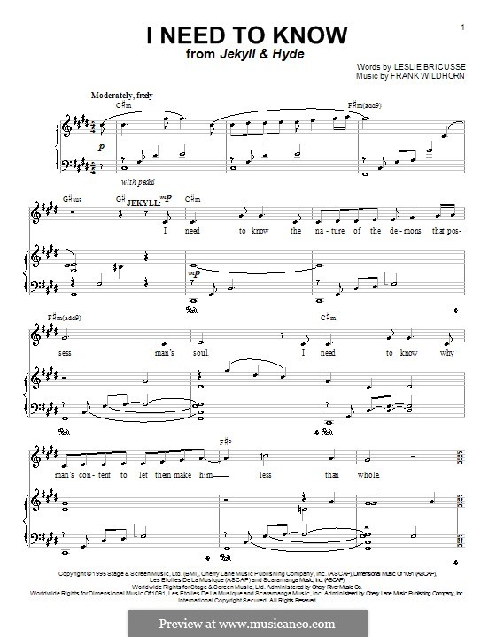 I Need To Know (from Jekyll & Hyde): For voice and piano (or guitar) by Frank Wildhorn