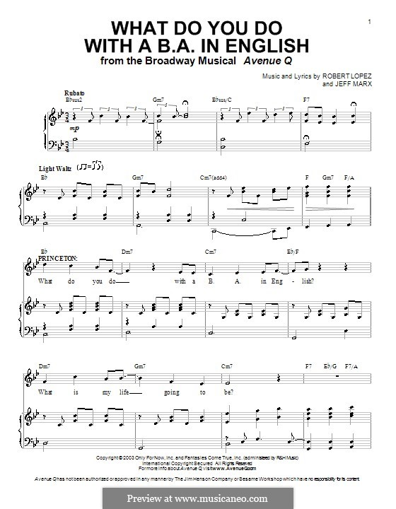 What Do You Do with a B.A. in English (Avenue Q): For voice and piano (or guitar) by Jeff Marx, Robert Lopez