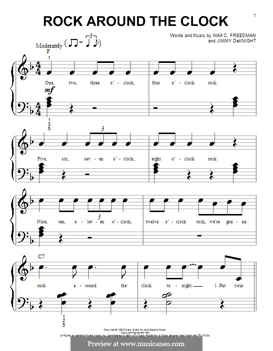Rock Around the Clock (Bill Haley and His Comets): For easy piano by Jimmy DeKnight, Max C. Freedman