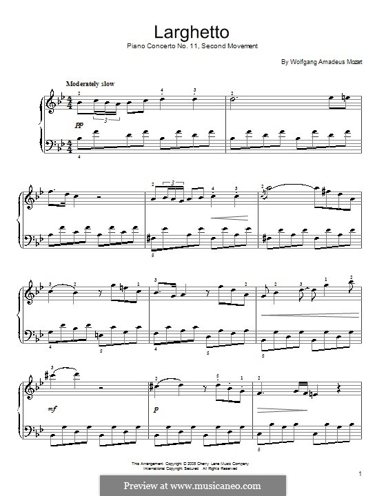 Concerto for Piano and Orchestra No.11 in F Major, K.413: Movement II (Fragment). Version for piano by Wolfgang Amadeus Mozart