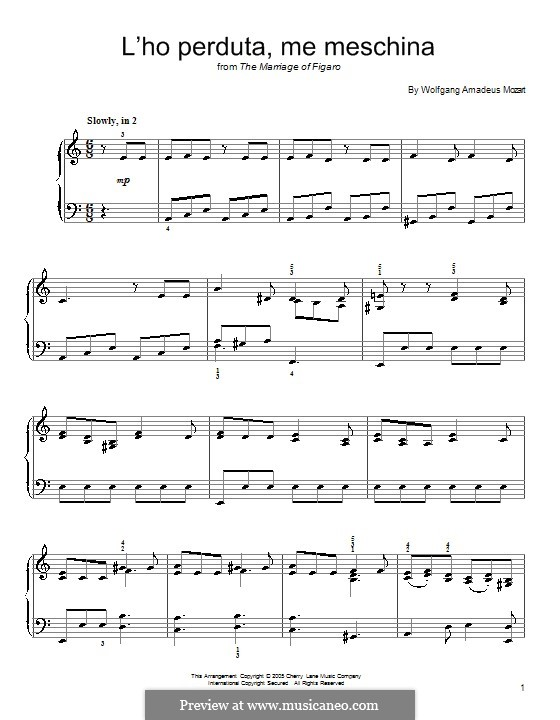 L'ho perduta, me meschina (I Lost it, Poor Me): For piano by Wolfgang Amadeus Mozart