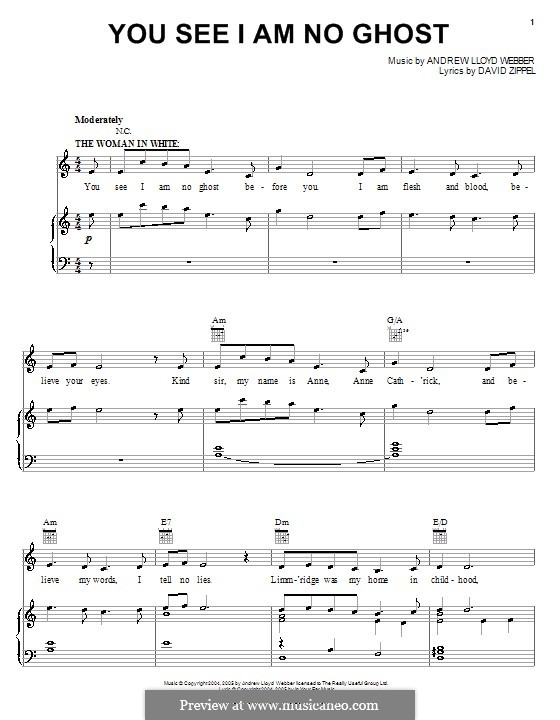 You See I am No Ghost: For voice and piano (or guitar) by Andrew Lloyd Webber