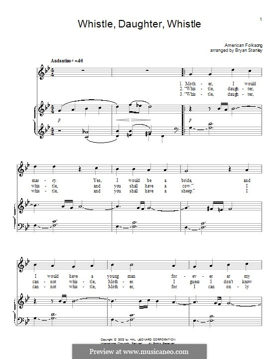 Whistle, Daughter, Whistle: For voice and piano (or guitar) by folklore