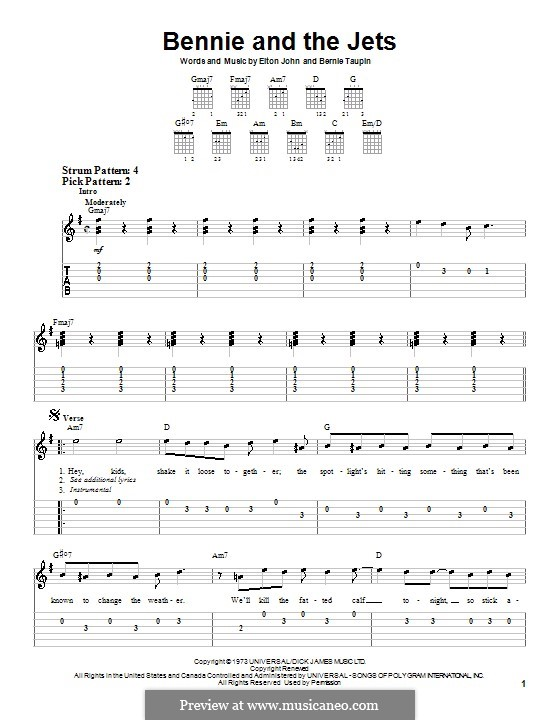 Bennie and the Jets: For guitar (very easy version) by Elton John