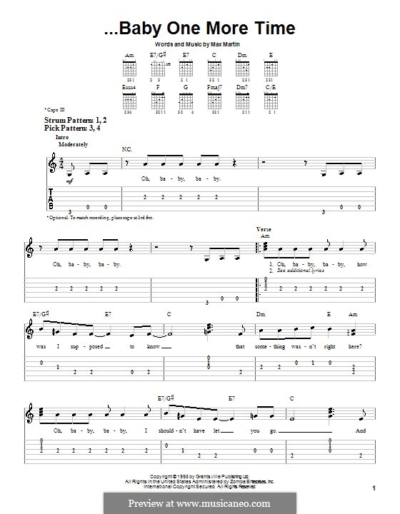 Baby One More Time (Britney Spears): For guitar (very easy version) by Max Martin