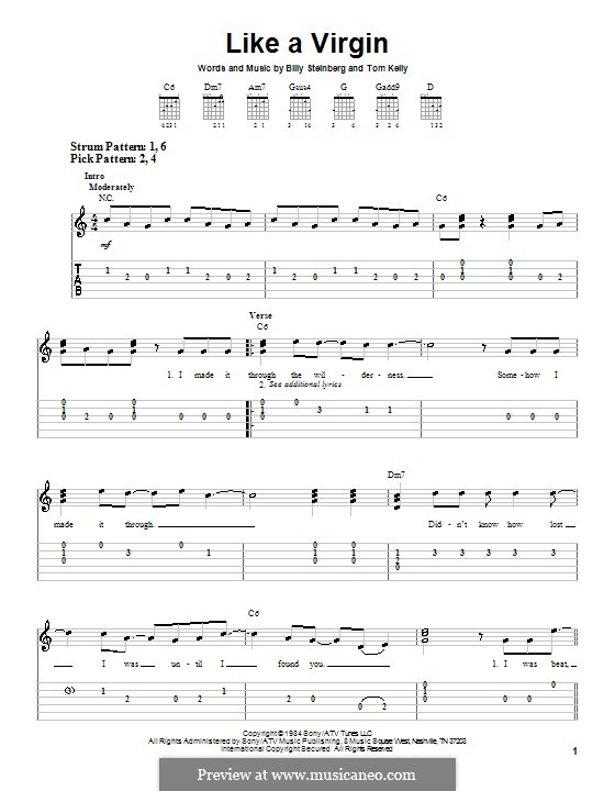 Like a Virgin (Madonna): For guitar (very easy version) by Billy Steinberg, Tom Kelly