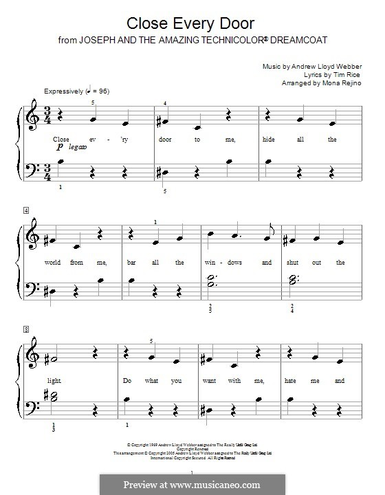Close Every Door: For easy piano by Andrew Lloyd Webber