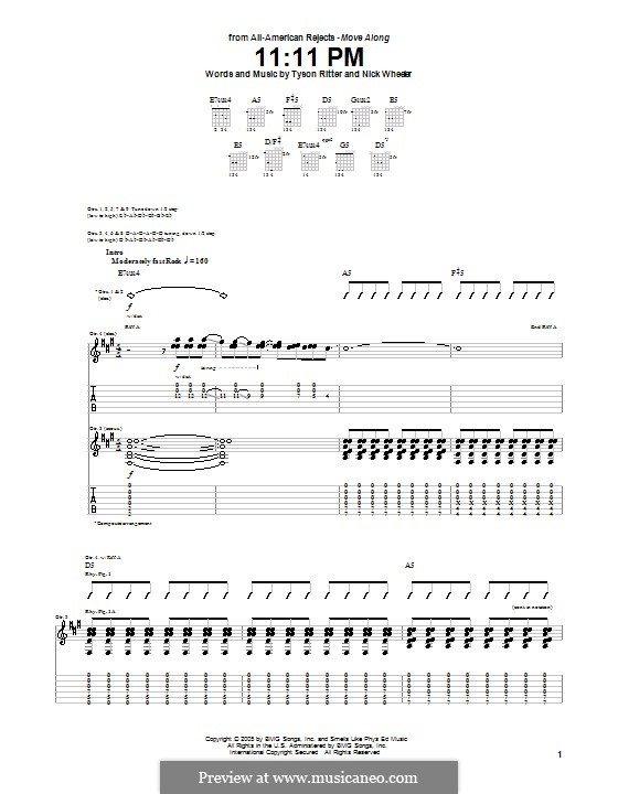 11.11 PM (The All-American Rejects): For guitar with tab by Nick Wheeler, Tyson Ritter