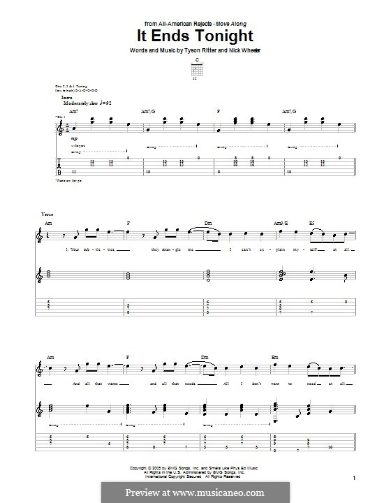all american rejects it ends tonight piano sheet music free