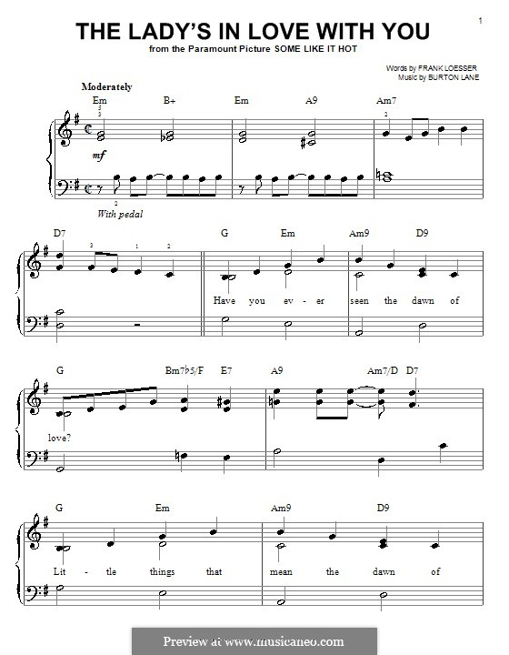 The Lady's in Love with You: For easy piano by Burton Lane