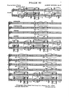 Psalm No.80 from the Book of Psalms, Op.37: For voices and piano by Albert Roussel