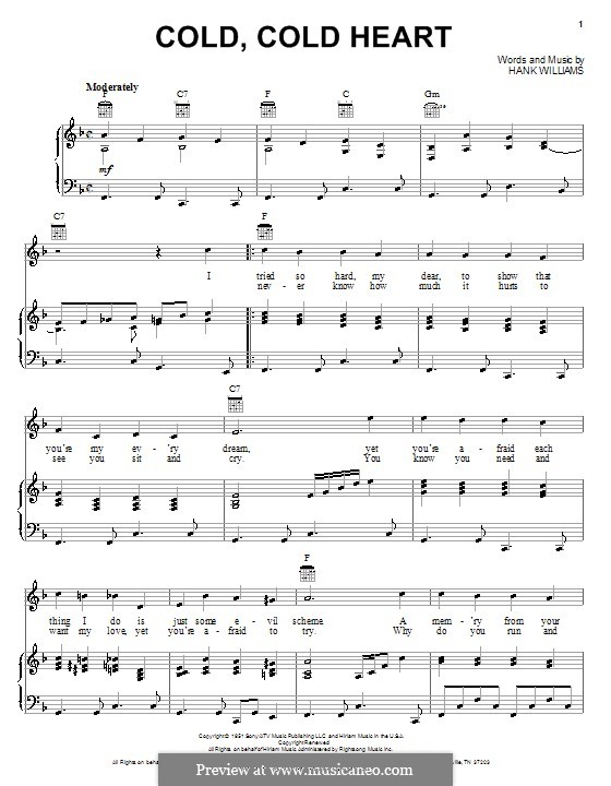 Cold, Cold Heart: For voice and piano or guitar (F Major) by Hank Williams