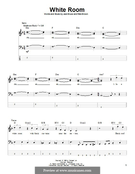 White Room (Cream): For bass guitar with tab by Jack Bruce, Pete Brown