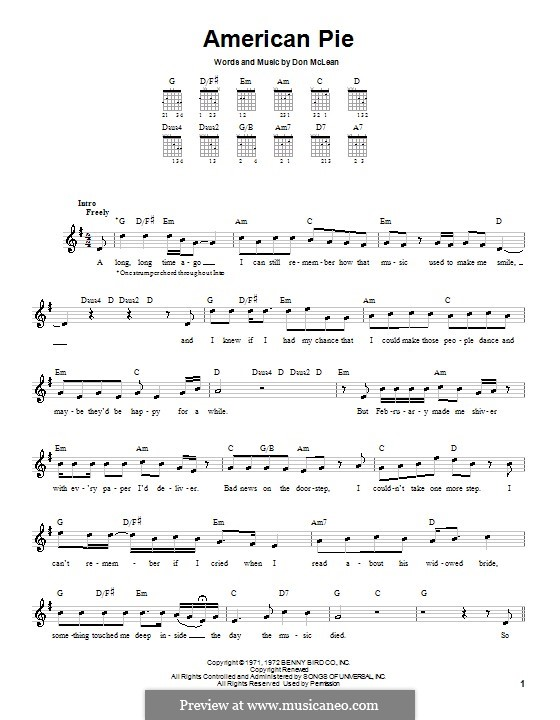American Pie (Madonna): For guitar (very easy version) by Don McLean