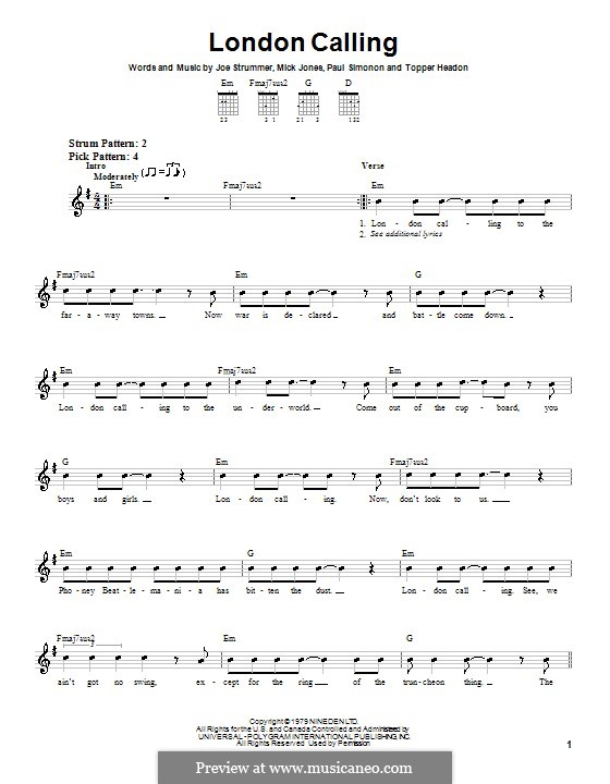 London Calling (The Clash): For guitar (very easy version) by Joe Strummer, Mick Jones, Paul Simonon, Topper Headon