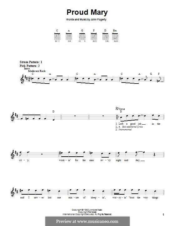 Proud Mary (Creedence Clearwater Revival): For guitar (very easy version) by John C. Fogerty