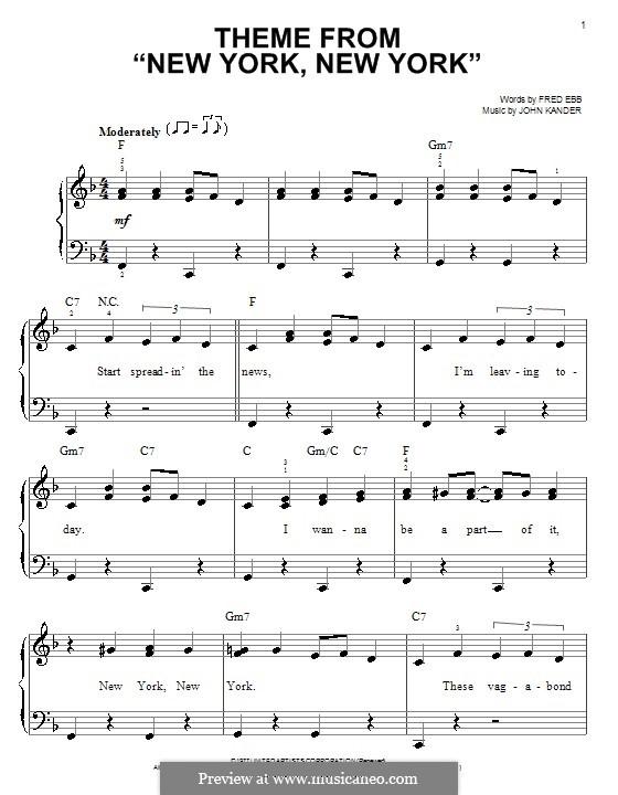 New York, New York (Frank Sinatra): For easy piano by John Kander