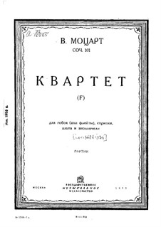 Quartet for Oboe and Strings in F Major, K.370: Parts by Wolfgang Amadeus Mozart