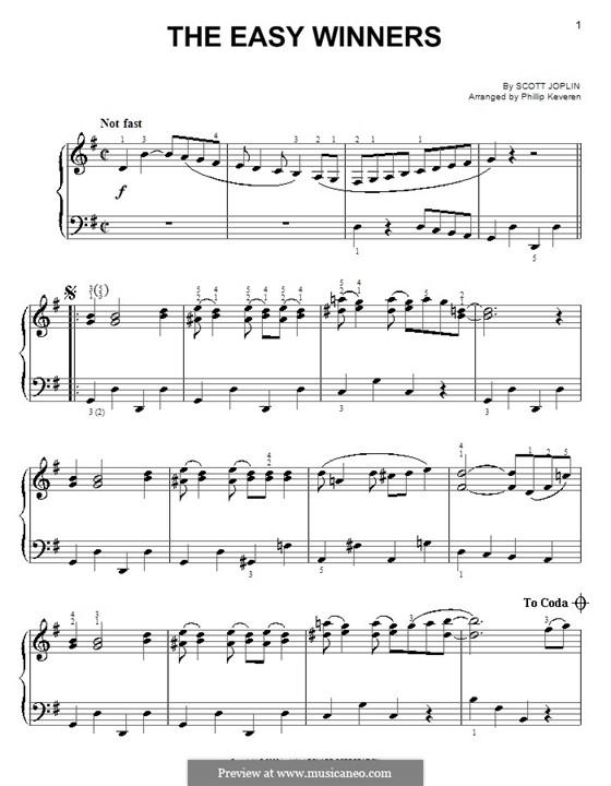The Easy Winners: For easy piano by Scott Joplin