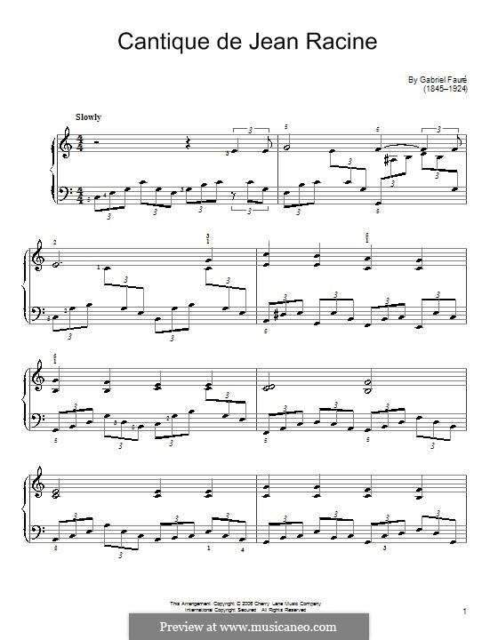 Cantique de Jean Racine, Op.11: For easy piano by Gabriel Fauré