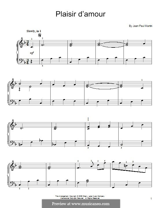 Plaisir d'Amour (The Joys of Love): For piano by Jean Paul Egide Martini