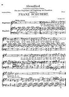 Abendlied (Evening Song), D.276: A Major by Franz Schubert