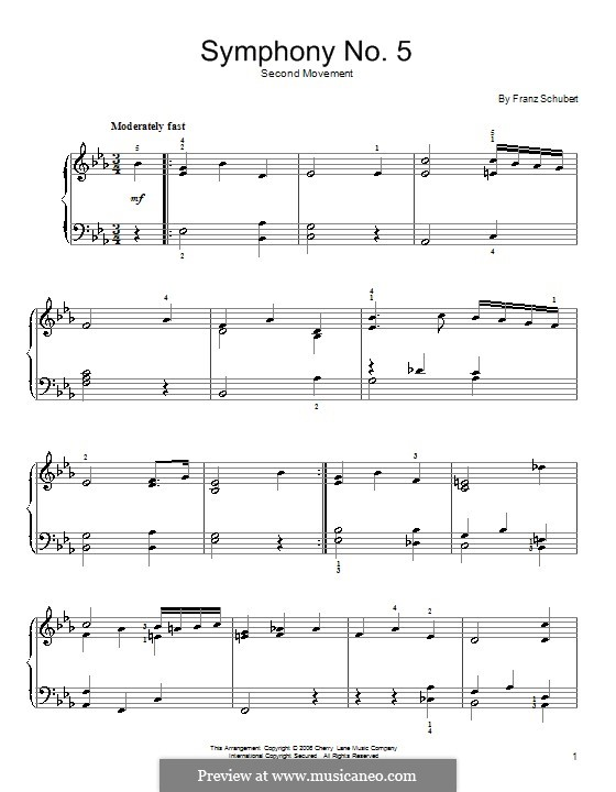Symphony No.5 in B Flat Major, D.485: Movement II (Theme). Version for easy piano by Franz Schubert