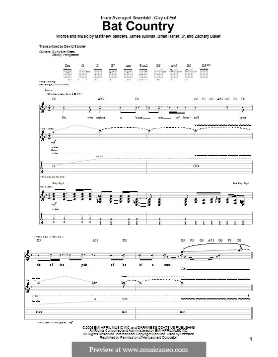 Bat Country (Avenged Sevenfold): For guitar with tab by Brian Haner Jr., James Sullivan, Matthew Sanders, Zachary Baker