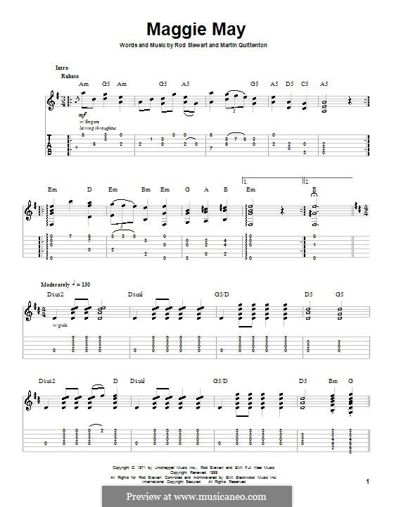 Maggie May: For guitar with tab by Martin Quittenton, Rod Stewart
