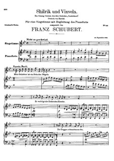 Shilrik und Vinvela (Shilric and Vinvela), D.293: For voice and piano by Franz Schubert