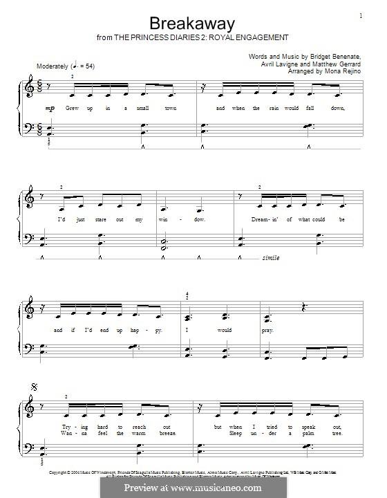 Breakaway (Kelly Clarkson): For piano by Avril Lavigne, Bridget Benenate, Matthew Gerrard