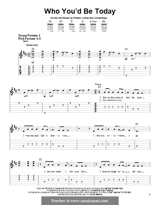 Who You'd Be Today (Kenny Chesney): For guitar (very easy version) by Aimee Mayo, William C. Luther