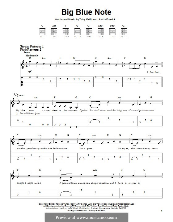 Big Blue Note: For guitar (very easy version) by Scott Emerick