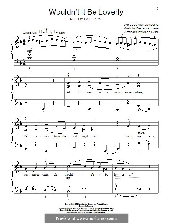 Wouldn't It Be Loverly (from My Fair Lady): For piano by Frederick Loewe
