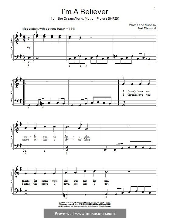 I'm a Believer: For easy piano (with lyrics) by Neil Diamond