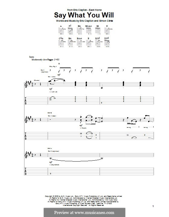Say What You Will: For guitar with tab by Simon Climie