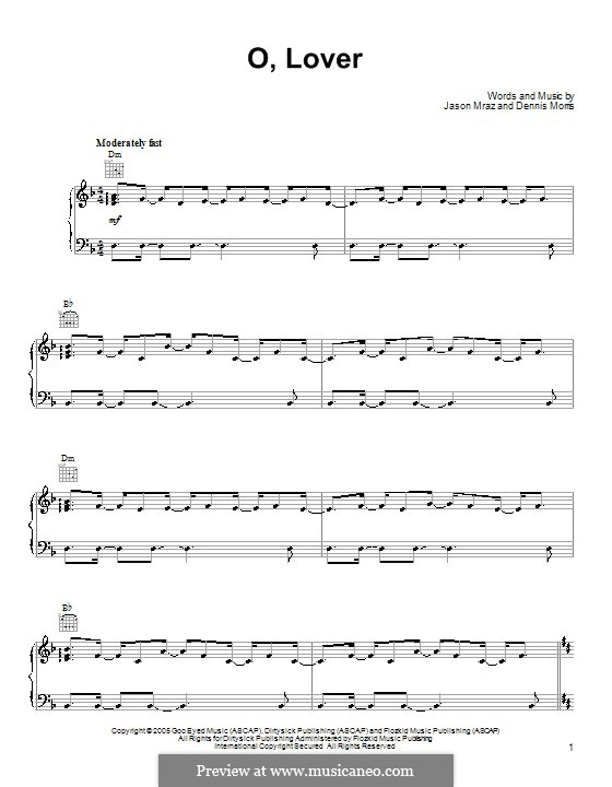 O, Lover: For voice and piano (or guitar) by Dennis Morris