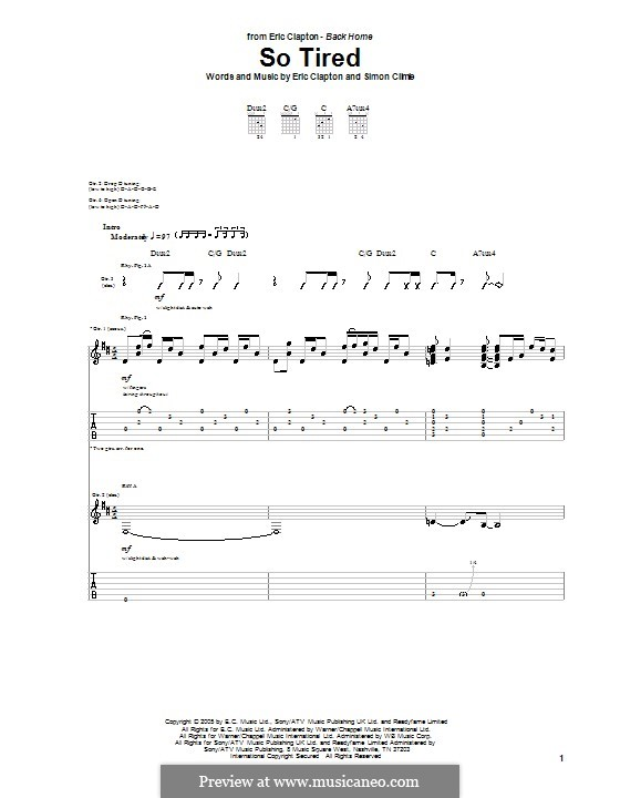 So Tired: For guitar with tab by Simon Climie