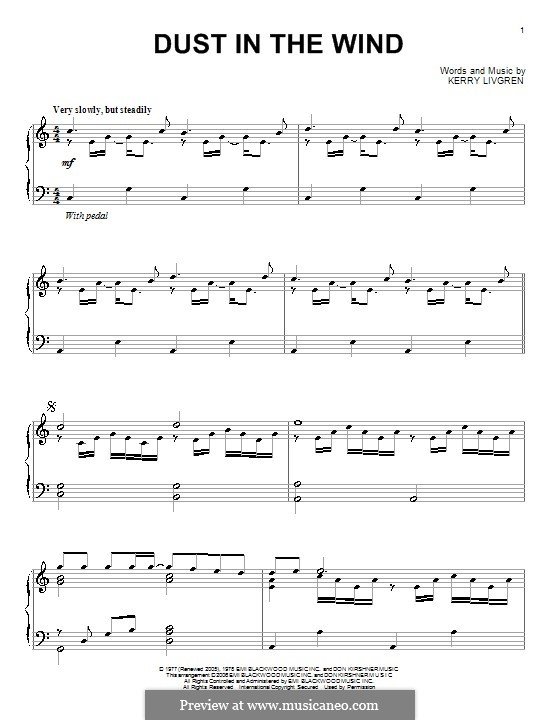 Dust in the Wind (Kansas): For piano by Kerry Livgren